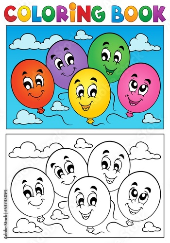 Coloring book balloons theme 1