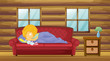 A girl sleeping at the sofa with a stuff toy
