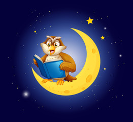 An owl reading a book on the moon