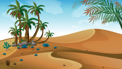 A desert with palm trees