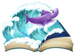 A storybook with a shark and a big wave