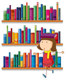 A girl balancing a book above her head in front of the bookshelv