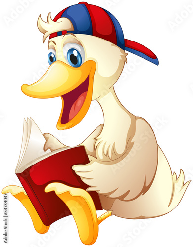 A happy duck reading a book