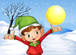 An elf raising his hand outside with snow