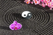 Japanese zen garden with yin and yang