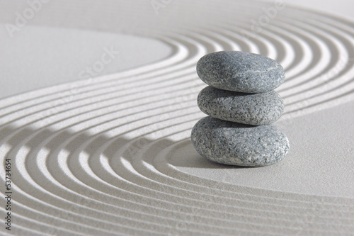 Japanese zen garden with stone in sand