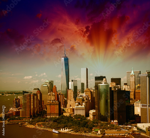 Wonderful summer sunset aerial view of lower Manhattan skyscrape
