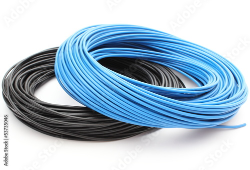 Blue and black cable on white background