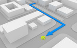 Navigation route on 3d map