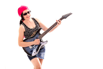 Hippie Woman With Electric Guitar