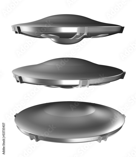 Set of flying saucer isolated on white