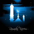 Ramadan kareem bright blue colorful card vector