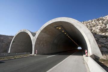Tunnel on the highway A1 near town Split in Croatia