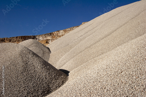 Heaps of aggregate in a rock quarry near Split in croatia