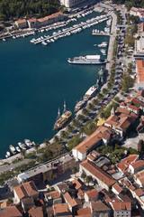 Adriatic town Makarska in Croatia, aerial view