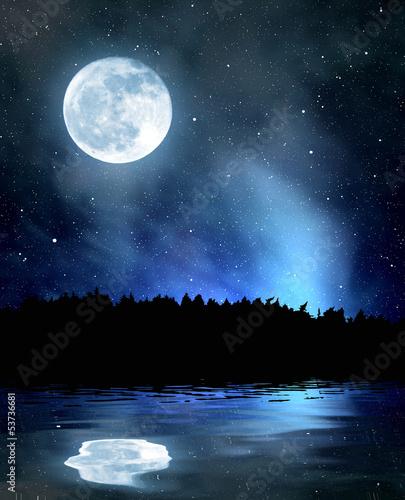 Leinwandbild Motiv night sky with stars and moon