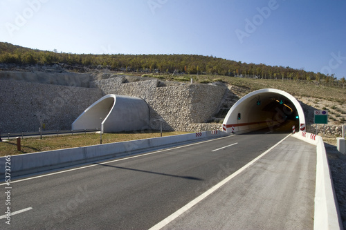 Leinwanddruck Bild Tunnel on the highway near town Split in Croatia