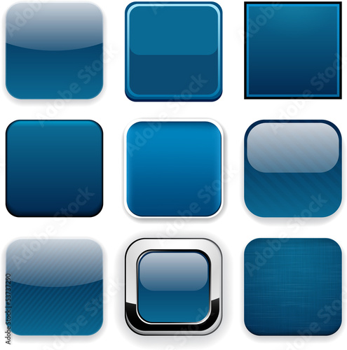 Square dark blue app icons.