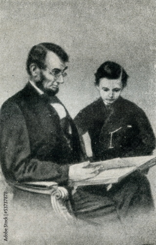 Abraham Lincoln with his youngest son, Tad (1864)