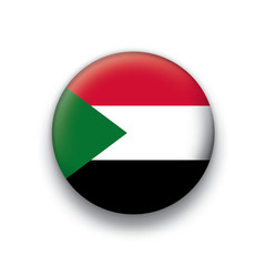 Vector flag button series Sudan