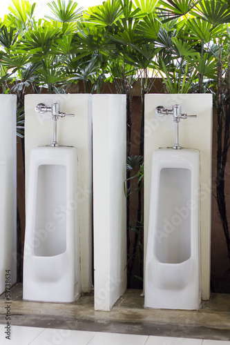 White porcelain male urinal in the green environment