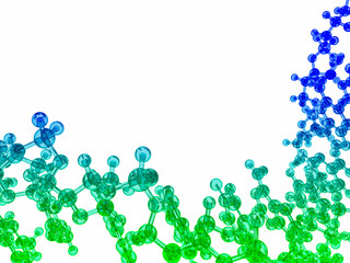 isolated blue and green glossy chemical molecular structure