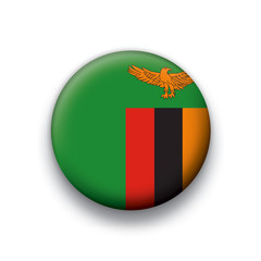 Vector flag button series Zambia