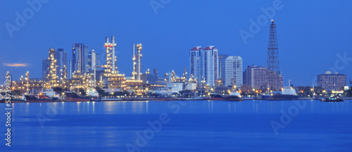 beautiful panorama scene of refinery industry  plant with comuni