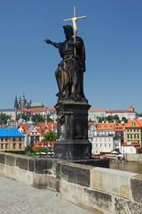 Statue on famous Charles Bridge (Prague)