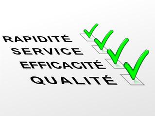 Label qualité,efficacité,service,rapidité