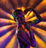 Portrait of charming slim girl with UV makeup poster