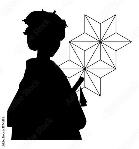 着物女性のシルエット素材