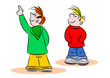 Young cartoon kids pointing and looking on a white background