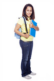 Smiling female student carrying notebooks - isolated over a whit