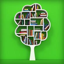 Träd av kunskap. Bokhylla på vit bakgrund.