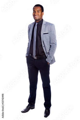 Full body portrait of confident young business man, isolated on