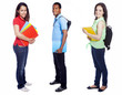 Group of college students on white background