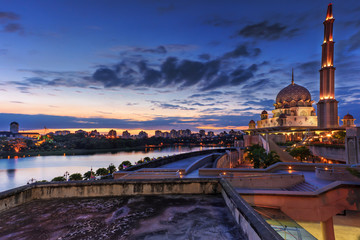 Sunset view of Putrajaya Mosque