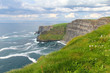 Moher cliffs clouds and meadows
