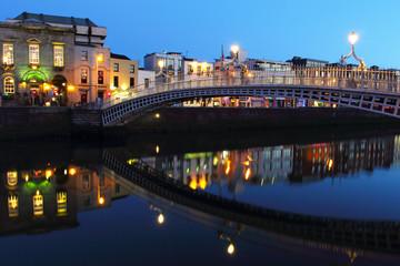 Ha'penny bridge at night in Dublin