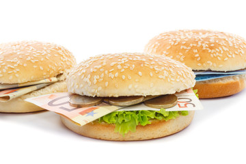 Burgers with Euro toppings and lettuce