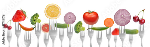 Spoed canvasdoek 2cm dik Verse groenten diet concept.vegetables and fruits on the collection of forks