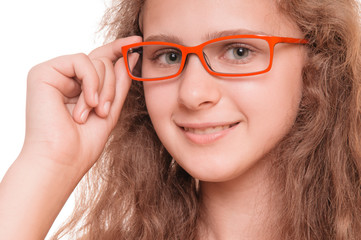 girl with reading glasses