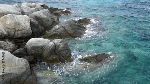 Sea waves and rock coast