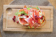 Delicious Parma Ham Sandwich On Wooden Plate