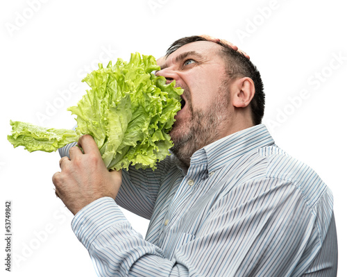Man holding lettuce isolated on white