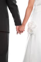 Hochzeitspaar hält sich an den Händen - isoliert - schwarz weiß