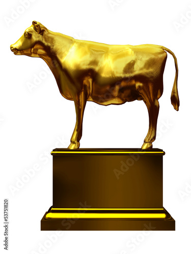 golden calf on a pedestal