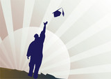 Graduate celebrating in silhouette