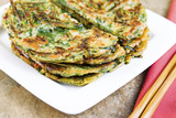 Stacked Korean Green Onion Pancakes Ready to Eat